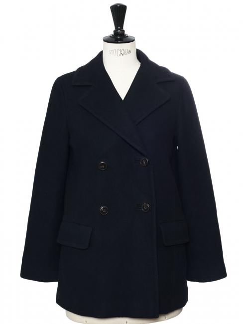 Manteau caban court en laine bleu marine Prix boutique 450€ Taille 38