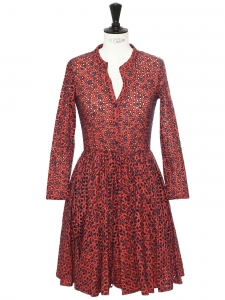 RAYANO TOMETTE red and navy blue eyelet lace embroidered fit and flare dress Retail price €365 Size 1