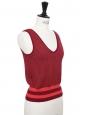 Sleeveless v neck burgundy red knitted top Size 36