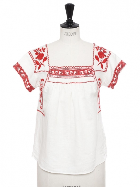 White linen bohemian short sleeves top embroidered with red flowers Size XS