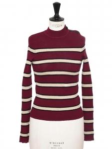 Pull DEVONA col rond en maille rouge bordeaux rayé noir et crème Prix boutique 220€ Taille 36