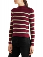 DEVONA burgundy red, cream and black striped round neck knitted sweater Retail price €220 Size 36