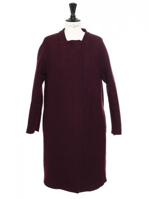 Manteau droit mi-long en laine bordeaux prune Taille 36