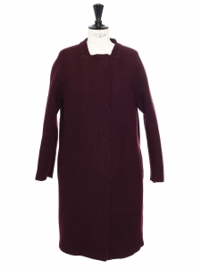 Mid-length prune wool straight cut coat Size 36