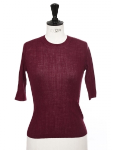 Burgundy red wool short sleeves round neck top Retail price $195 Size XS