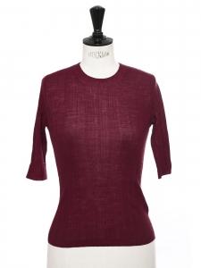 Top manches courtes col rond en laine rouge bordeaux Prix boutique $195 Taille XS