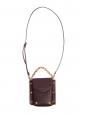 Petit sac à bandoulière en cuir grainé bordeaux prune et studs dorés