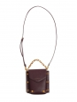 Small dark burgundy prune long strap bag with gold studs