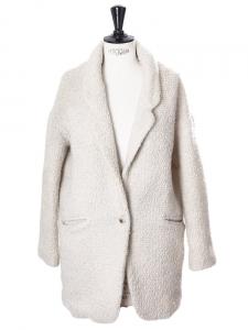 Manteau veste en laine mélangée blanc crème Px boutique 250€ Taille 38