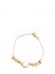 Bracelet fin chaîne dorée, feuilles et perle blanc ivoire