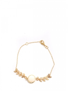 Thin gold chain bracelet with leaves and ivory white bead