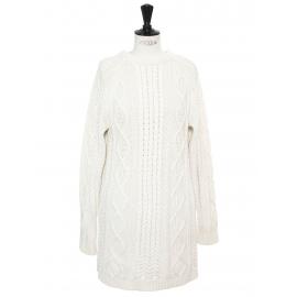 Long sleeves round neckline cream white heavy knit dress Size S