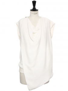 Cream white silk blend crepe sleeveless draped top Retail price €1700 Size 36