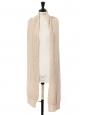 Echarpe très longue en maille côtelée de laine de cachemire beige Prix boutique $780
