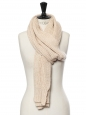 Beige cashmere wool ribbed knitted maxi scarf Retail price $780