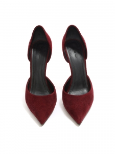 Stiletto heel pointed toe burgundy red suede pumps Retail price $600 Size 37