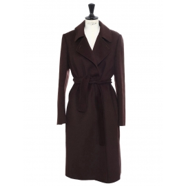 Cashmere, wool and angora dark brown belted maxi coat Retail price €1500 Size 38
