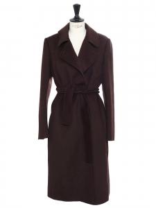 Manteau long ceinturé en cachemire, laine et angora marron chocolat Prix boutique 1500€ Taille 38