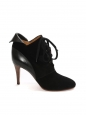 KATHLEEN Black suede leather lace up ankle heel boots NEW Retail price €595 Size 40.5