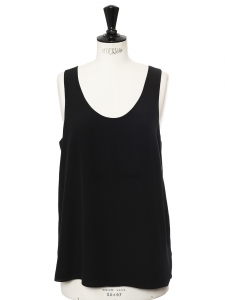 Black silk crepe de chine Iconic tank top Retail price €390 Size 38