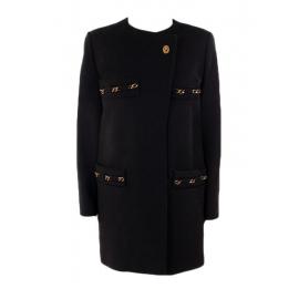 Manteau en laine noire brodé de chaînes dorées Px boutique 2000€ Taille 38 to 40