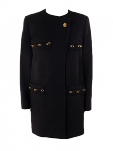 Gold chain embellished black wool coat Retail price 2000€ Size 38 to 40