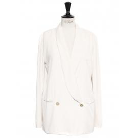 Veste blazer classique double boutonnière en twill blanc crème Px boutique 1000€ Taille 38