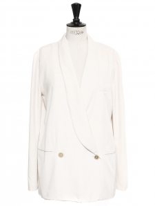 Cream white twill double-breasted blazer jacket Retail price €1000 Size 38