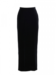Stretch black velvet high waist maxi skirt Retail price €990 Size 38