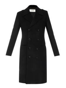 Black wool double-breasted long pea coat Retail price €2990 Size XS