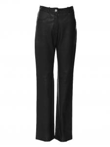 Pantalon taille haute évasé en cuir noir Prix boutique 3000€ Taille 40