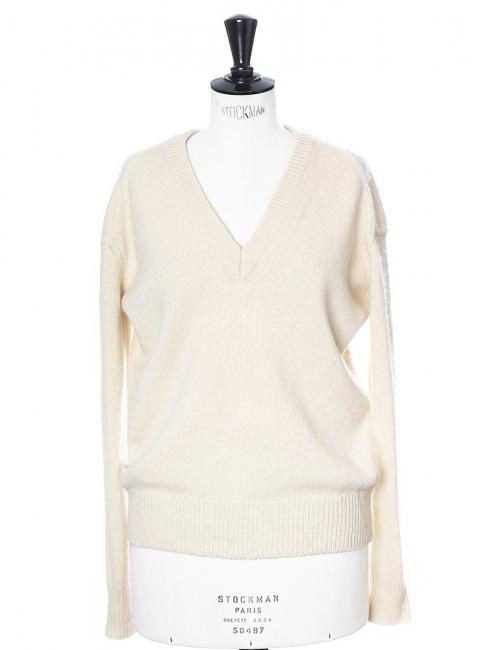 Pull col V en laine épaisse crème Prix boutique 350€ Taille S
