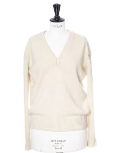 Cream thick wool V neck sweater Retail price €350 Size S