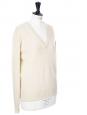 Pull col V en laine épaisse crème Px boutique 350€ Taille S