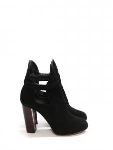 Bottines low boots à talon en bois et suède noir Prix boutique 950€ Taille 36,5