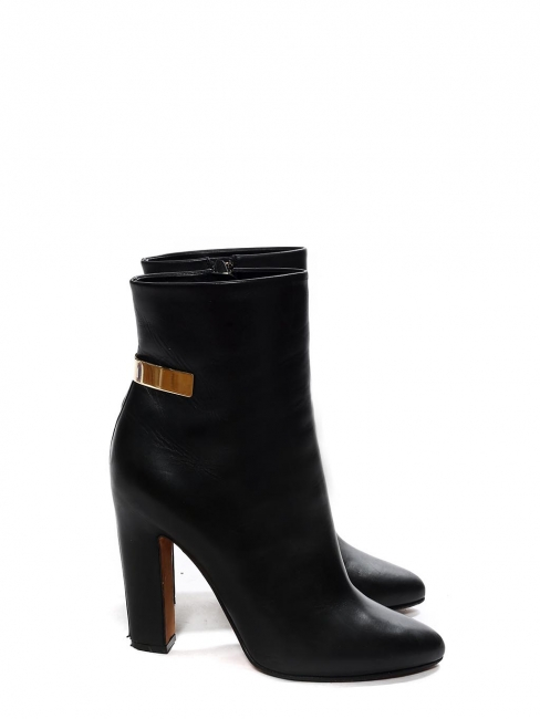 High heel pointy toe black leather ankle boots with gold detail Retail price $1295 Size 38.5