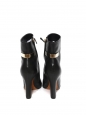 High heel pointy toe black leather ankle boots Size 38.5