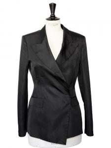 Veste blazer de smoking en soie noire Taille 38