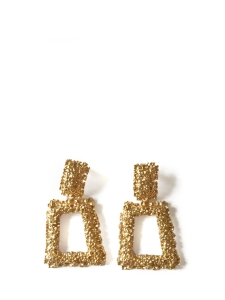 Textured gold metal clip earrings