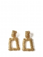 Textured gold metal earrings