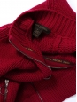 Cherry red heavy knitted cashmere and wool zipped cardigan Retail price €1100 Size 38