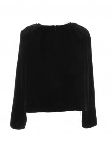 Top cropped manches longues col rond en velours noir Prix boutique $250 Taille 38