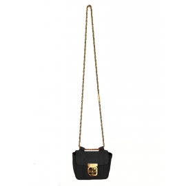 Steal blue grained leather mini ELSIE cross body bag Retail price €850