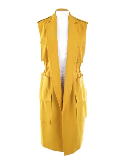 RIMINI mustard yellow long vest dress Retail price €880 Size 36 to 38