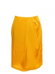 Honey yellow pleated straight cut skirt Retail price €250 Size 36