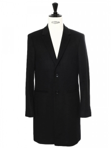 MIGOR Men's black cashmere wool long coat Retail price €750 Size 48 (M)