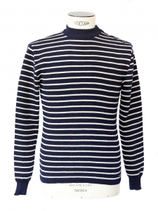 MATELOT Navy blue / ecru striped new wool Breton sweater Size S