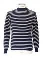 Pull MATELOT marinière en laine épaisse bleu marine rayé écru Taille S