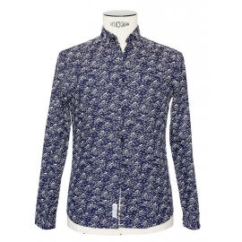 WAVE Navy blue with white waves printed cotton shirt NEW Retail price €89 Size S