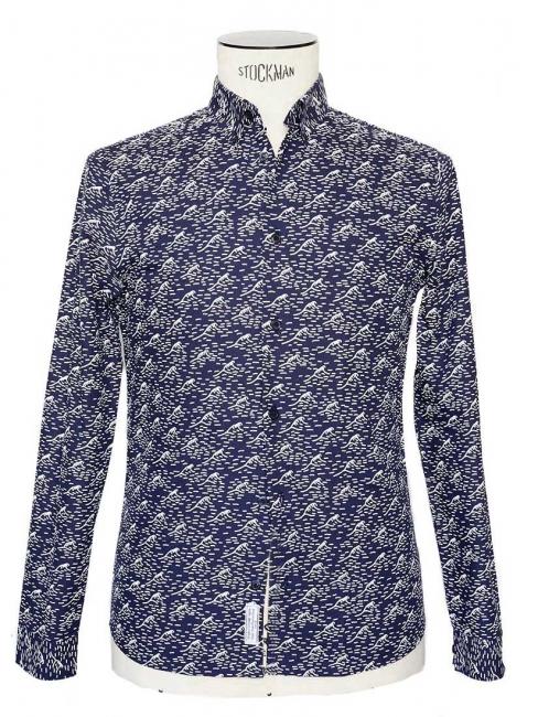 Chemise WAVE en coton bleu imprimé vagues blanches NEUVE Prix boutique 89€ Taille S
